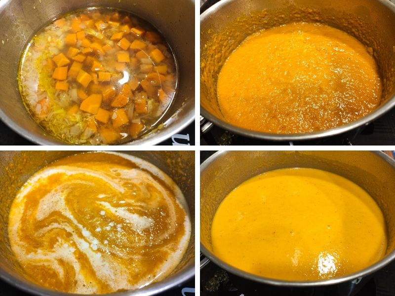 Collage of 4 photos showing the step by step process of making ginger carrot soup