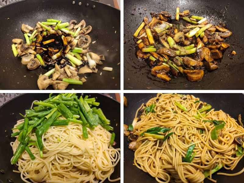 Collage of 4 photos showing the step by step process of making mushroom noodles
