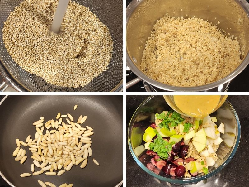 Collage of 4 photos showing the steps of making quinoa and fruit salad