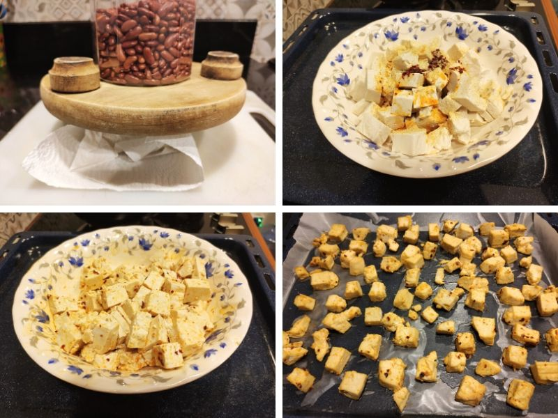 Collage of 4 photos showing the steps of making chili garlic tofu