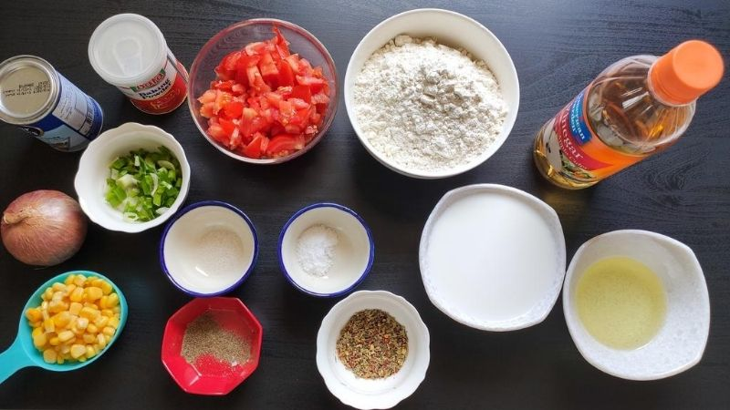 Ingredients for making vegan savoury muffins
