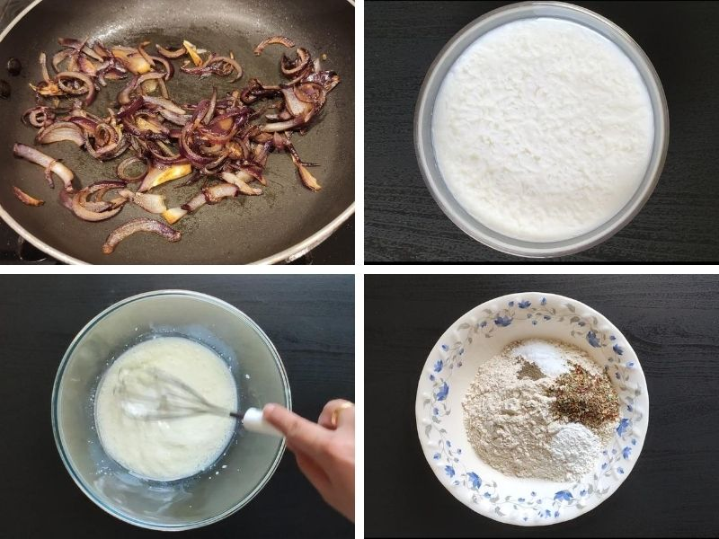 Collage of 4 photos showing the step by step process of making vegan savoury muffins