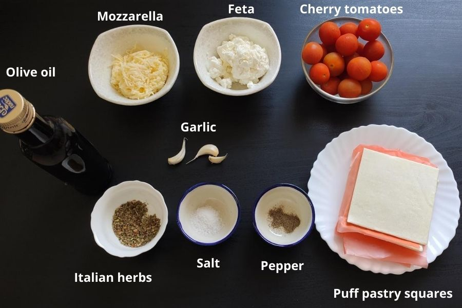 Ingredients for tomato puff pastry tart