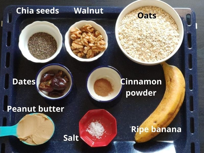 Ingredients for banana bread balls