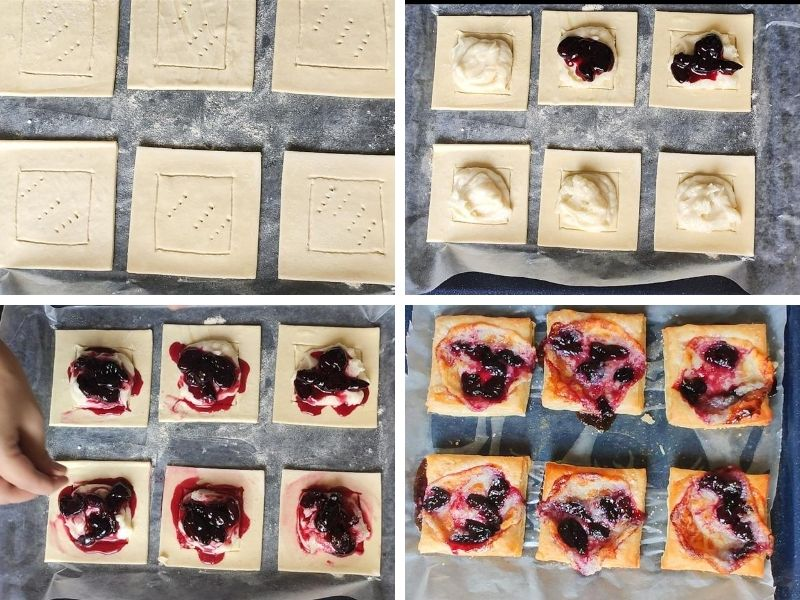 Collage of 4 photos showing step by step process of making cherry cheese danish