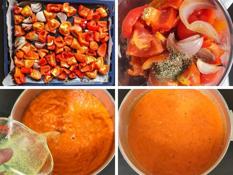 Collage of 4 photos showing the steps of making roasted bell pepper tomato soup