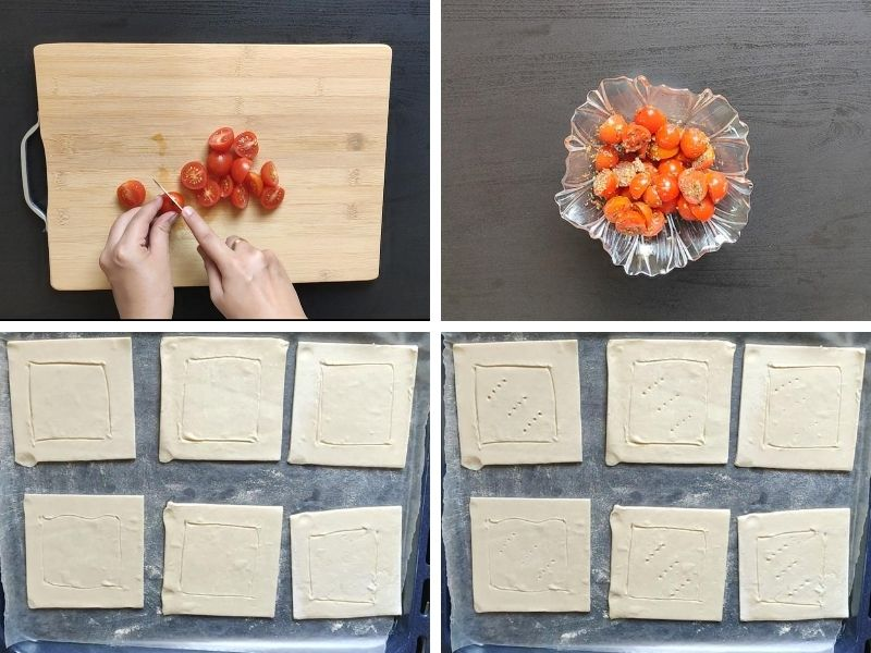 Collage of 4 photos showing steps of making tomato puff pastry tart