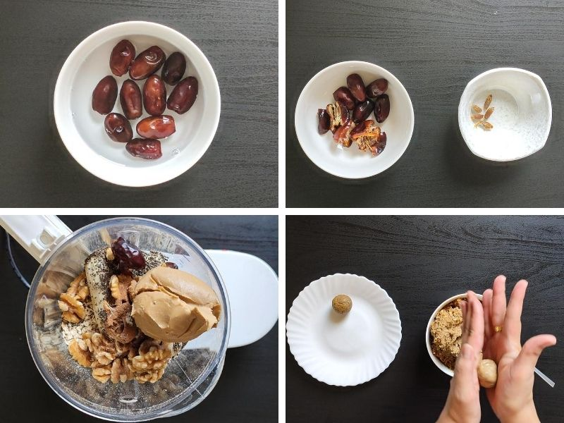 collage of 4 photos showing the steps of making vegan banana bread energy balls