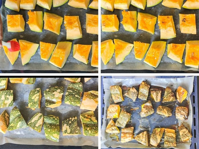 Collage of 4 photos showing the steps of making vegan pumpkin soup