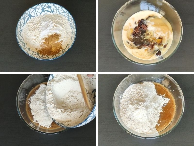 collage of 4 photos showing steps of making vegan chocolate pumpkin muffins