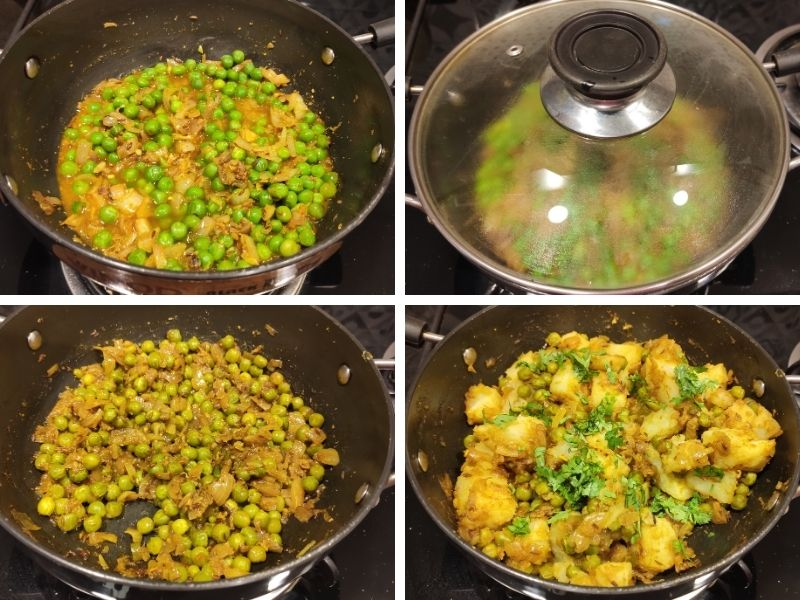 collage of 4 photos showing steps of making dry aloo matar