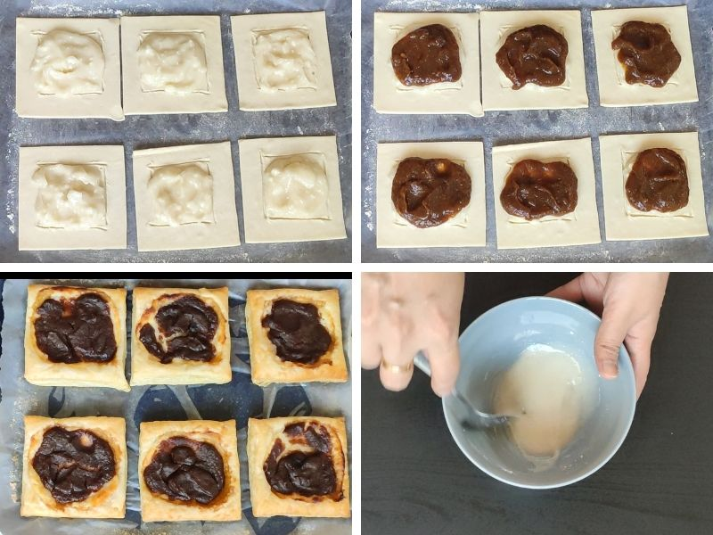 collage of 4 photos showing the steps of making pumpkin puff pastry