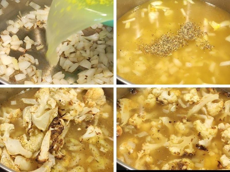collage of 4 photos showing the steps of making roasted cauliflower soup
