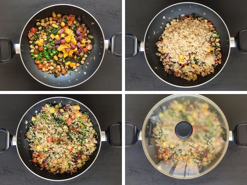 Collage of 4 photos showing the steps of making healthy quinoa