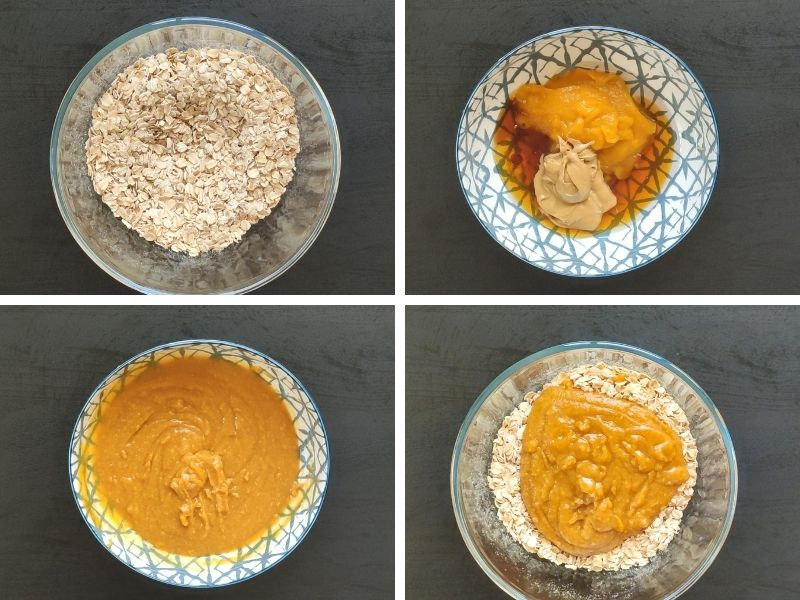 collage of 4 photo showing steps of making healthy pumpkin oatmeal cookies